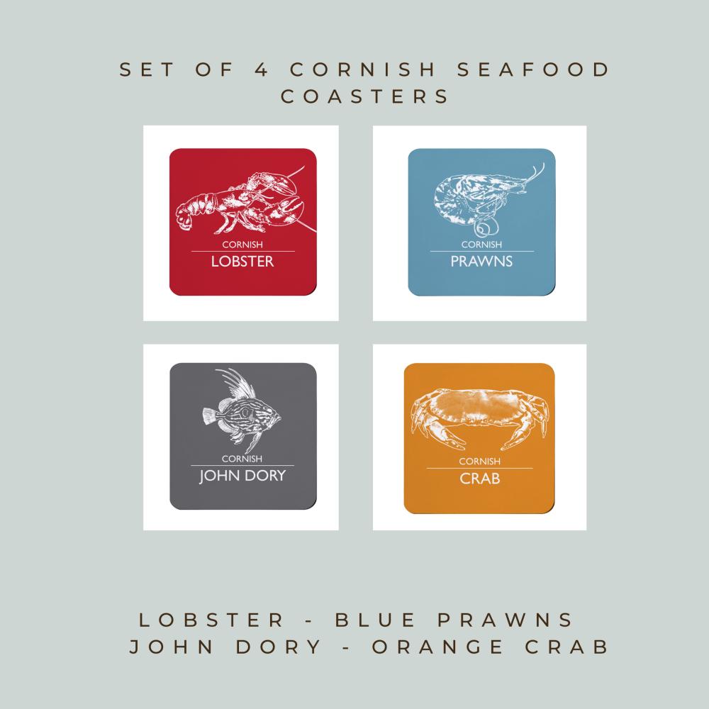 4 Cornish Seafood Coasters - Lobster, Prawns, John Dory & Crab