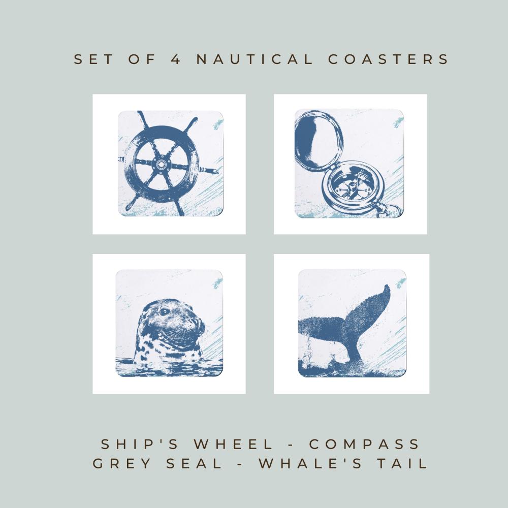 4 Nautical Coasters - Blue & White Melamine - Coastal Style