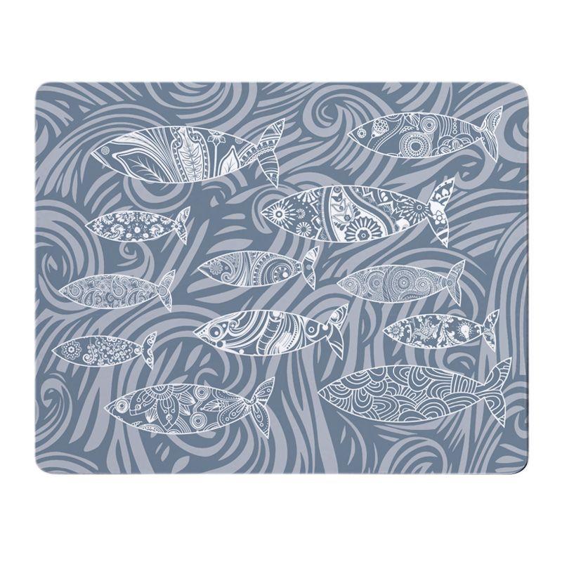 Shoal of Fish Placemat - Mid Grey Melamine - Coastal Style