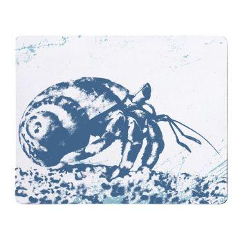 Hermit Crab Placemat - Blue & White Melamine - Nautical Style