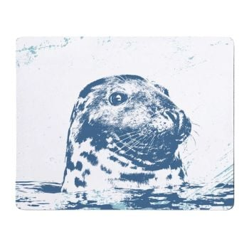 Grey Seal Placemat - Blue & White Melamine - Nautical Style