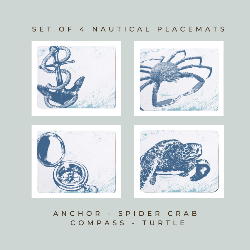 4 Placemats - Anchor, Spider Crab, Compass, Turtle - Nautical Style