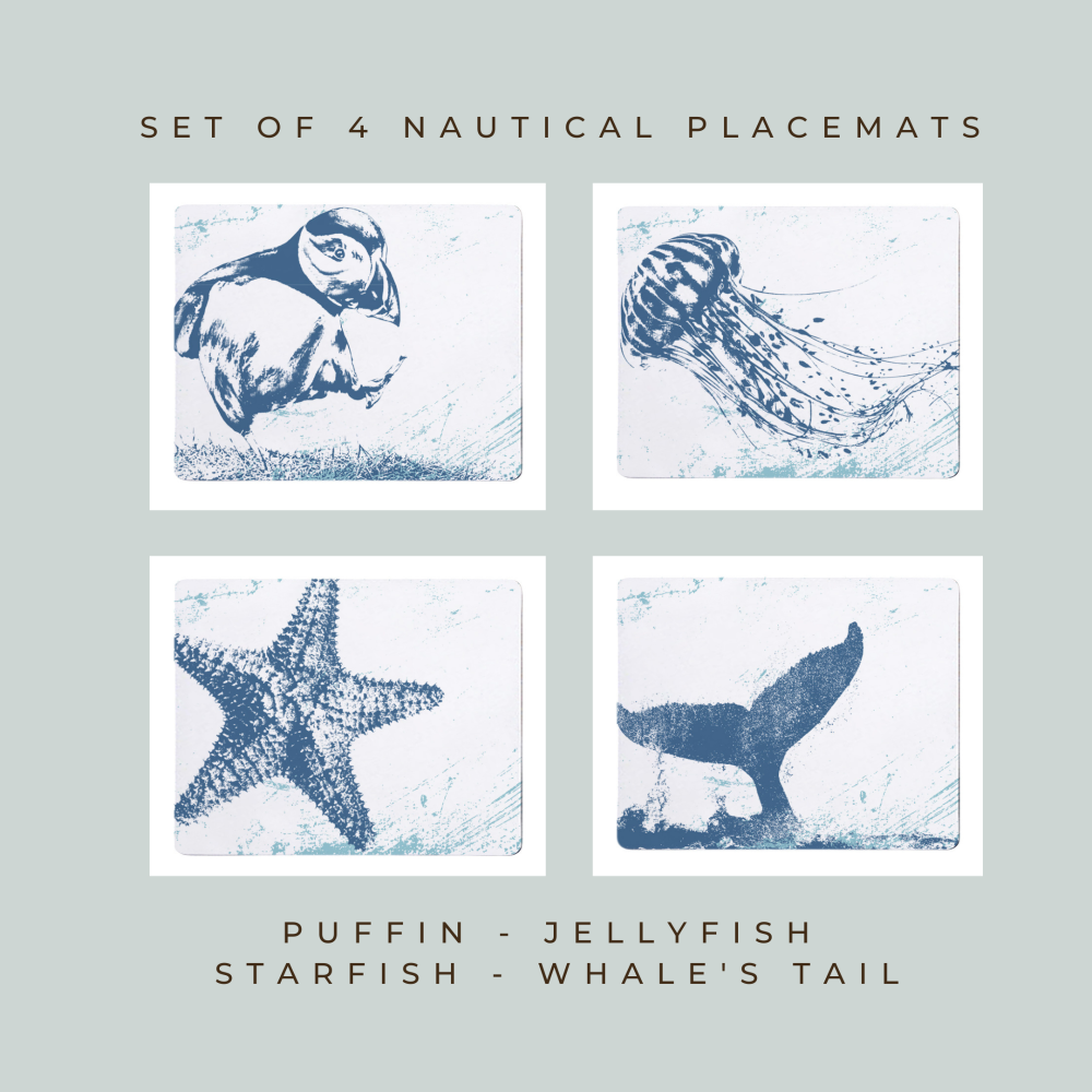 4 Placemats - Puffin, Jellyfish, Starfish, Whale's Tail - Nautical Style