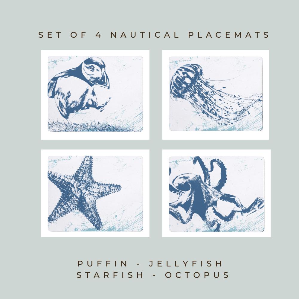 4 Placemats - Puffin, Jellyfish, Starfish, Octopus - Nautical Style