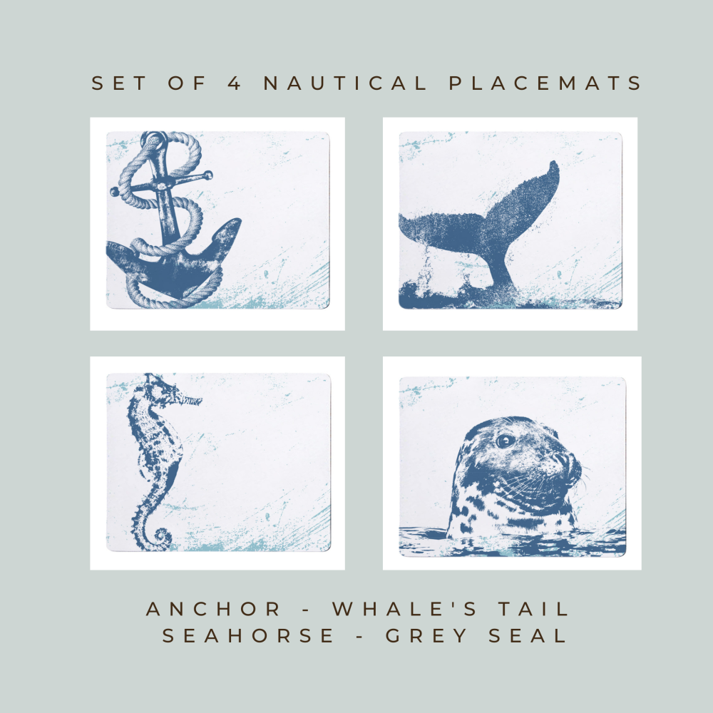 4 Placemats - Anchor, Whale Tail, Seahorse, Grey Seal - Nautical Style