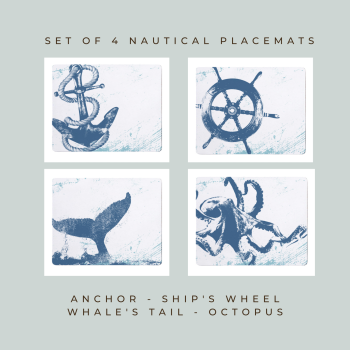 4 Placemats - Anchor, Ship's Wheel, Whale's Tail, Octopus - Nautical Style