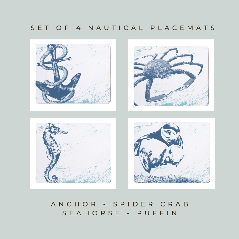 4 Placemats - Anchor, Spider Crab, Seahorse, Puffin - Nautical Style