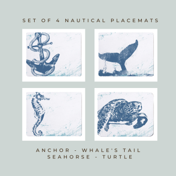 4 Placemats - Anchor, Whale Tail, Seahorse, Turtle - Nautical Style
