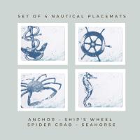 4 Placemats - Anchor, Ship's Wheel, Spider Crab, Seahorse - Nautical Style