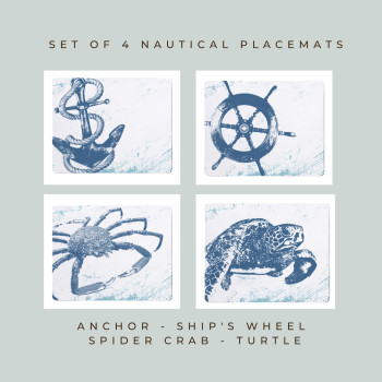 4 Placemats - Anchor, Ship's Wheel, Spider Crab, Turtle - Nautical Style