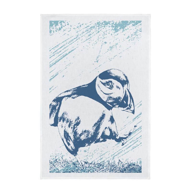 Nautical Full Colour Printed Tea Towel - Puffin