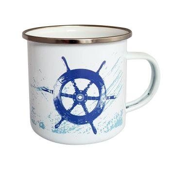 Enamel Mug - Ship's Wheel Design