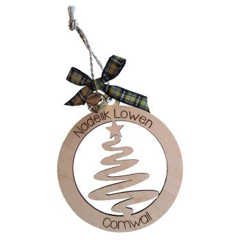 Wooden Cornish Christmas Hanging - Nadelik Lowen