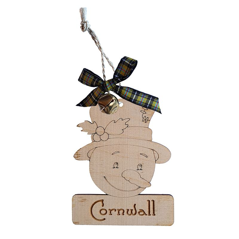 Wooden Hanging - Cornwall Snowman Bauble