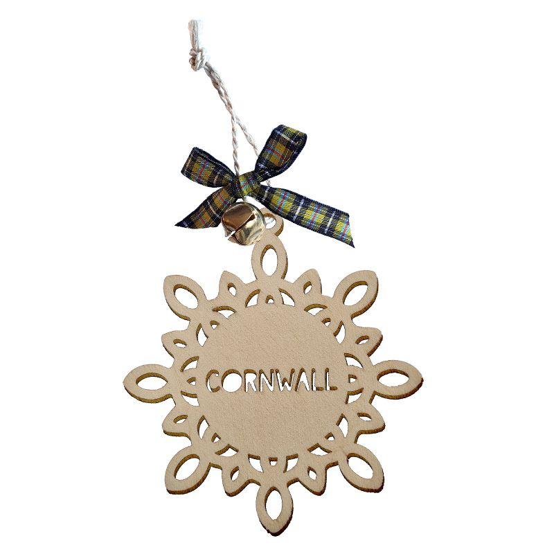 Wooden Hanging - Cornwall Snowflake Bauble