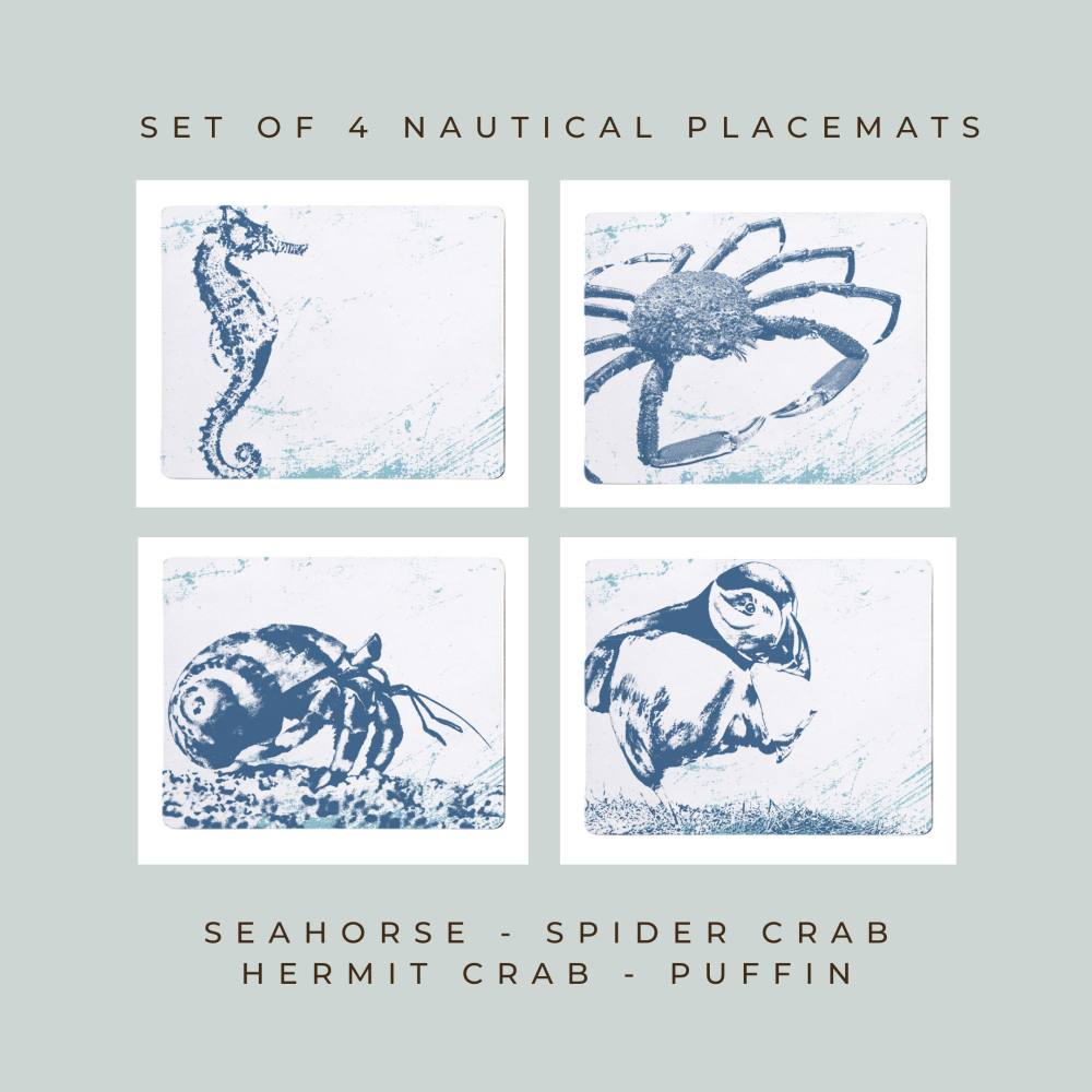 4 Placemats - Seahorse, Spider Crab, Hermit Crab, Puffin - Nautical Style