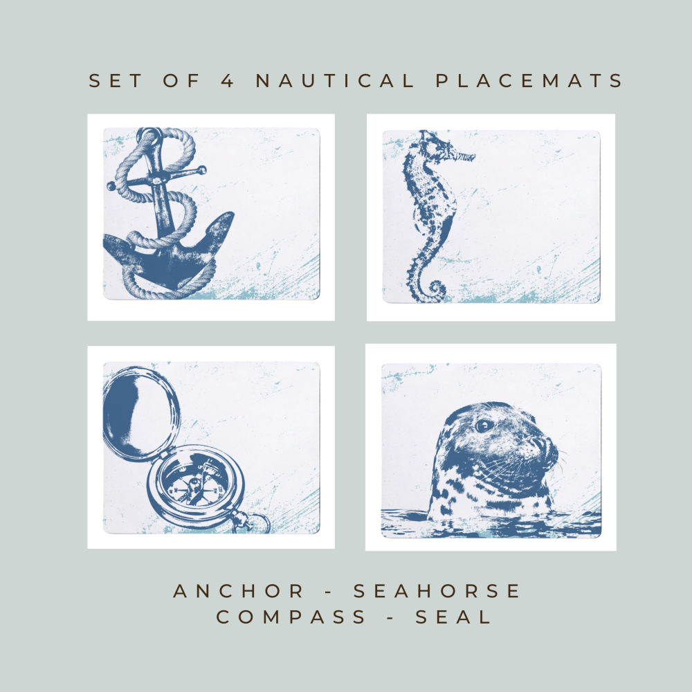 4 Placemats - Anchor, Seahorse, Compass, Seal - Nautical Style