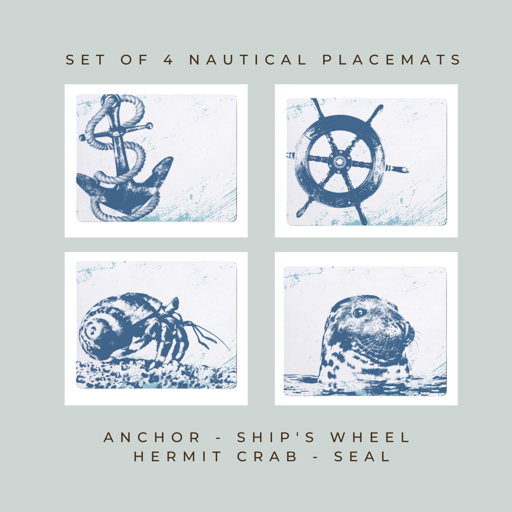 4 Placemats - Anchor, Ship's Wheel, Hermit Crab, Seal - Nautical Style