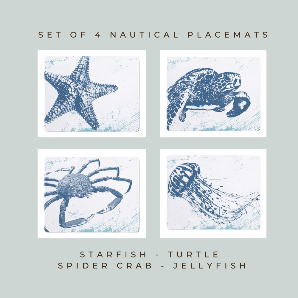 4 Placemats - Starfish, Turtle, Spider Crab, Jellyfish - Nautical Style