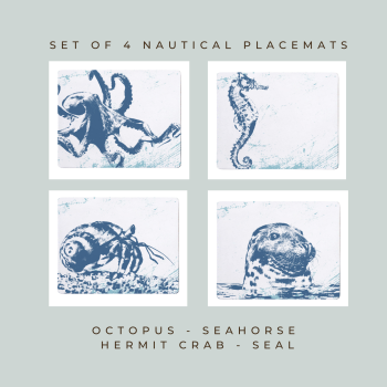4 Placemats - Octopus, Seahorse, Hermit Crab, Seal - Nautical Style