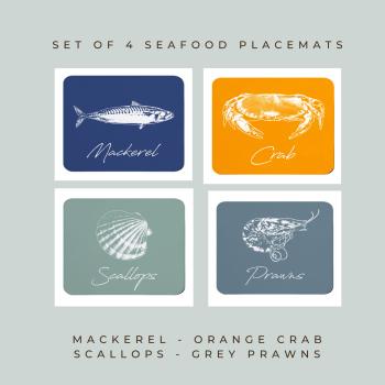4 Seafood Placemats - Mackerel, Crab, Scallops & Prawns - Coastal Style