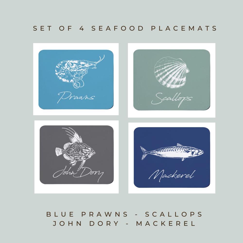 4 Seafood Placemats - Prawns, Scallops, John Dory & Mackerel  - Coastal Sty