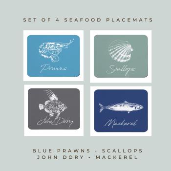 4 Seafood Placemats - Prawns, Scallops, John Dory & Mackerel  - Coastal Style