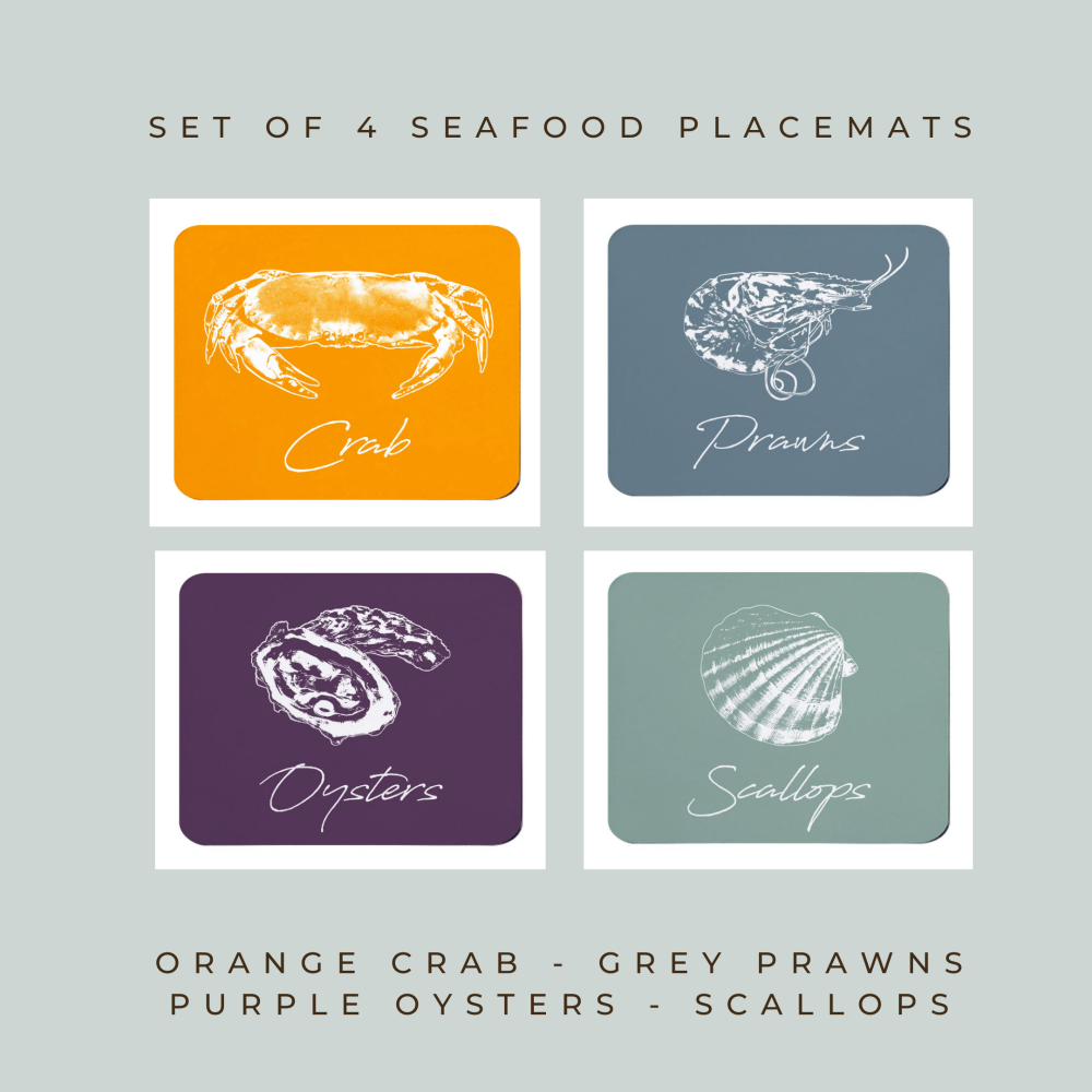 4 Seafood Placemats - Crab, Prawns, Oysters & Scallops  - Coastal Style