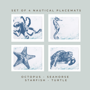 4 Placemats - Octopus, Seahorse, Starfish & Turtle - Nautical Style
