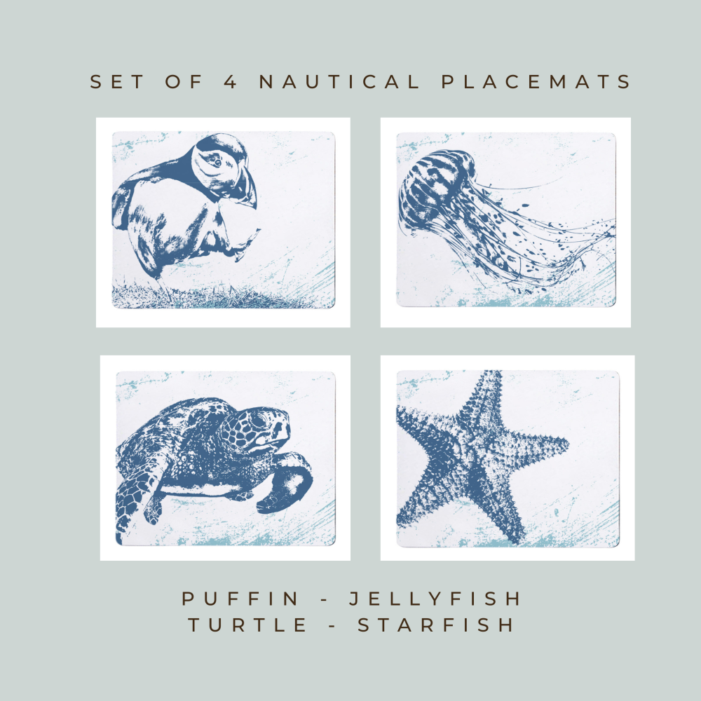 4 Placemats - Puffin, Jellyfish, Turtle and Starfish - Nautical Style