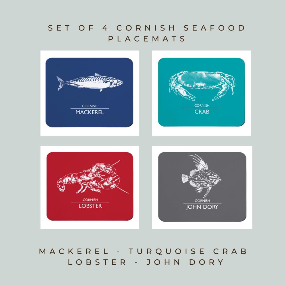 4 Cornish Placemats - Mackerel, Crab, Lobster & John Dory