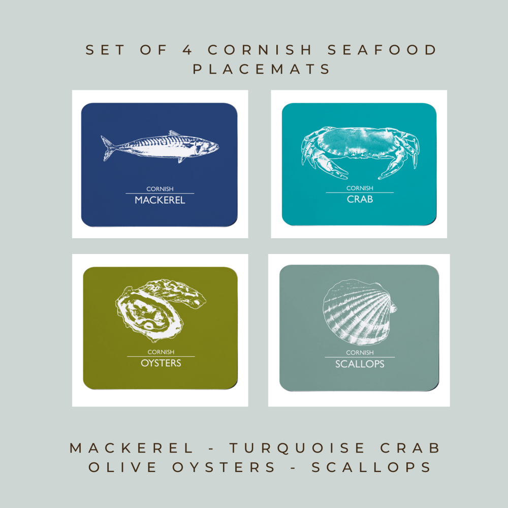 Set of Cornish Placemats - Mackerel, Crab, Oysters & Scallops