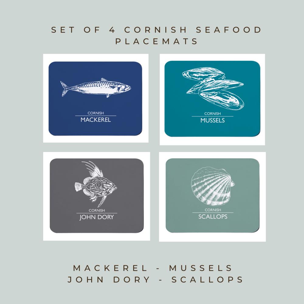 Set of 4 Cornish Placemats - Mackerel, Mussels, John Dory & Scallops