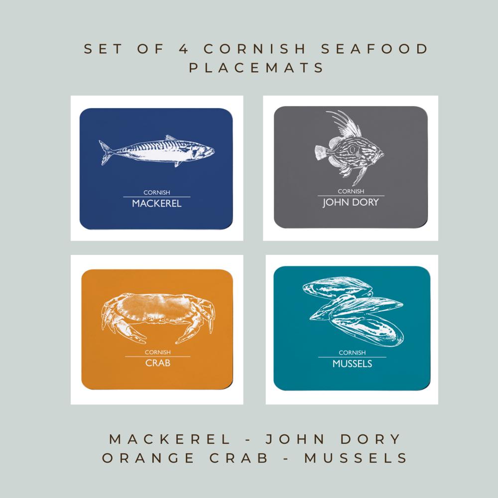 Set of 4 Cornish Placemats - Mackerel, John Dory, Orange Crab & Mussels