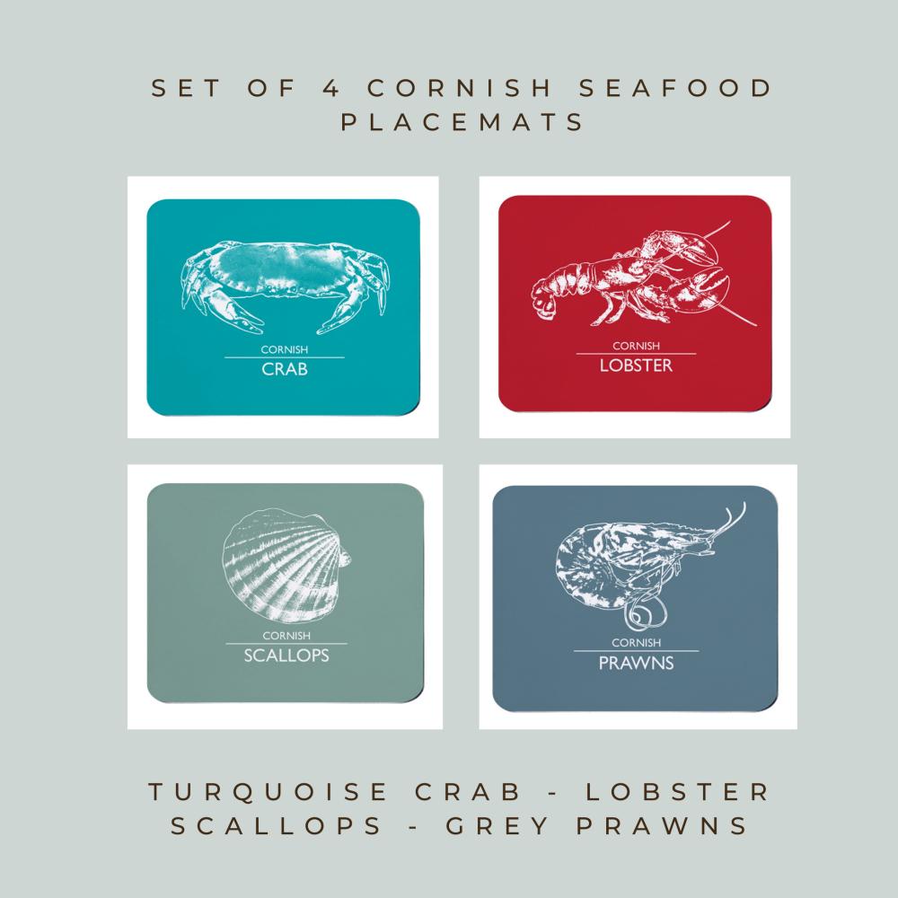 Set of 4 Cornish Placemats - Crab, Lobster, Scallops & Prawns