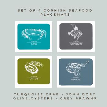 Set of 4 Cornish Placemats - Crab, John Dory, Oysters & Prawns