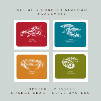 Set of 4 Cornish Placemats - Lobster, Mussels, Crab & Oysters