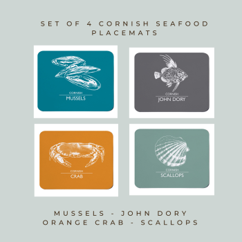 Set of 4 Cornish Placemats - Mussels, John Dory, Crab & Scallops
