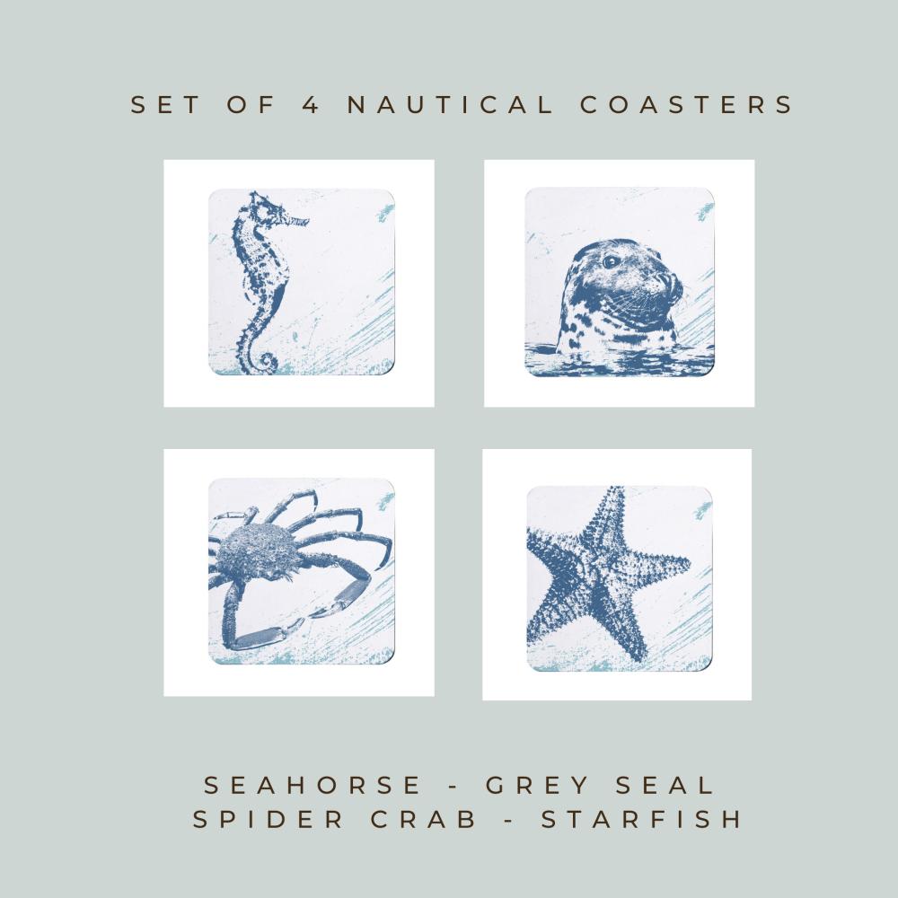 4 Nautical Coasters - Seahorse, Seal, Spider Crab, Starfish