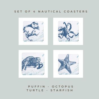 4 Nautical Coasters - Puffin, Octopus, Turtle & Starfish