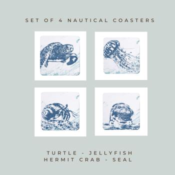 4 Nautical Coasters - Turtle, Jellyfish, Hermit Crab & Seal