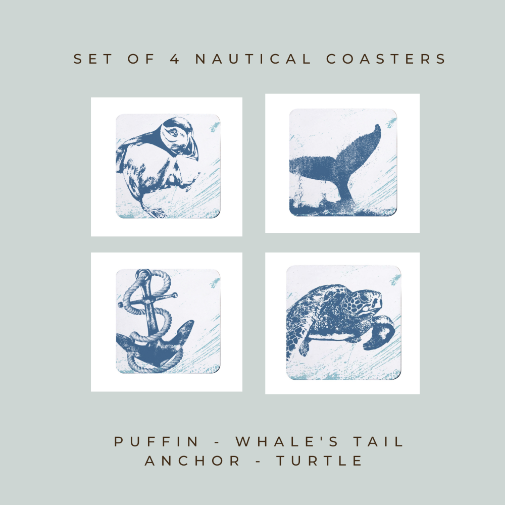 4 Nautical Coasters - Puffin, Whale's Tail, Anchor & Turtle