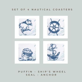 4 Nautical Coasters - Puffin, Ship's Wheel, Seal & Anchor