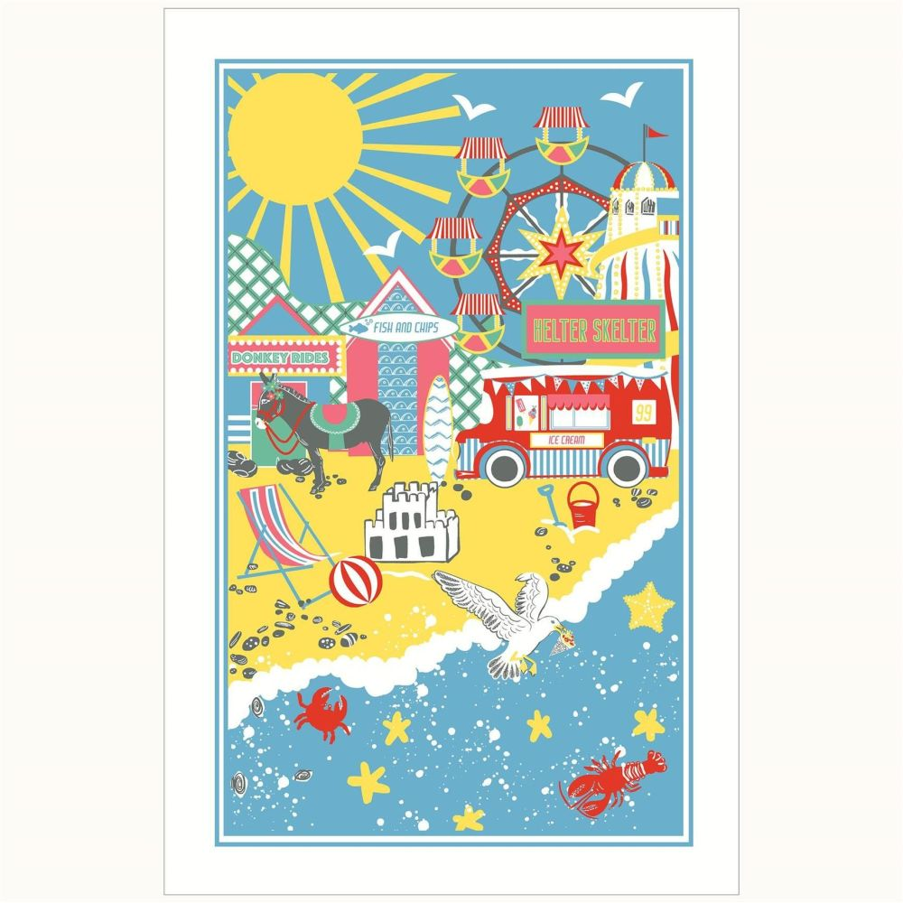 Beside The Seaside - Full Colour Tea Towel - 100% Cotton