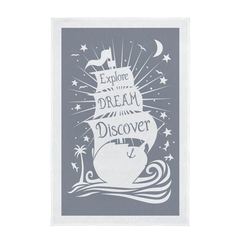 Explore Dream Discover Screen Printed Tea Towel - Grey