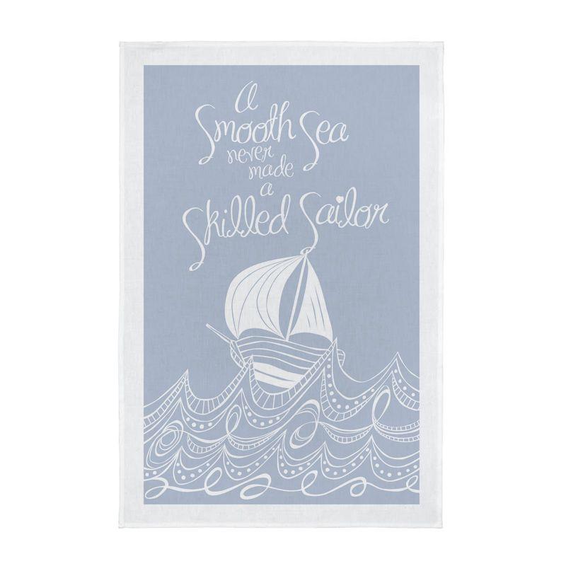 Nautical Screen Printed Tea Towel - A Smooth Sea - Palest Grey