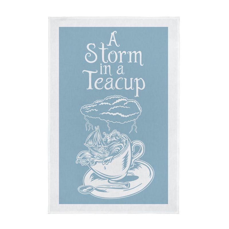 A Storm in a Teacup Screen Printed Tea Towel - Blue