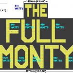 The Full Monty Sign Wattage and Dims - A1STAGE SCENERY AND SET HIRE FOR