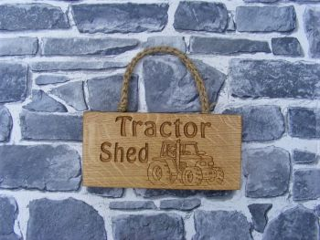 AB190 'Tractor Shed' Engraved Oak Hanging Sign