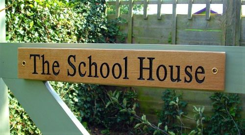 AA138 Personalised Engraved Long oak gate sign  40cm x 6cm